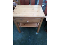 pine wood unit with drawer at the top