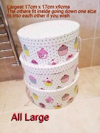 Three set of very Large Pretty Storage Boxes