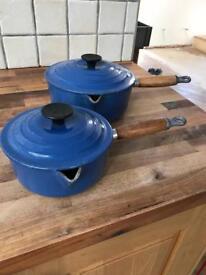 Pair of Le Creuset Spouted Blue Lidded Saucepans