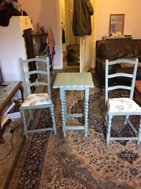 Shabby chic two chairs and small table