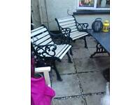 Cast iron and granite garden set