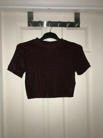Topshop cropped glitter top