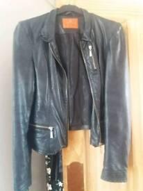Black leather ladies jacket