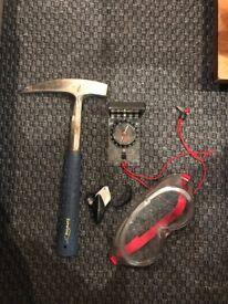 Geology Kit - Hammer, compass clinometer, eye glass & goggles
