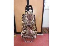 TWO WHEELED SHOPPING TROLLEY WITH DESIGNER ANIMAL PRINT WATERPROOF FABRIC - USED ONCE - LIKE NEW