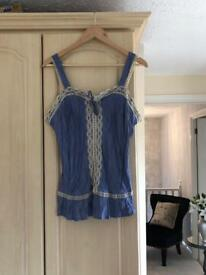 George dusky blue and cream lace top size 14