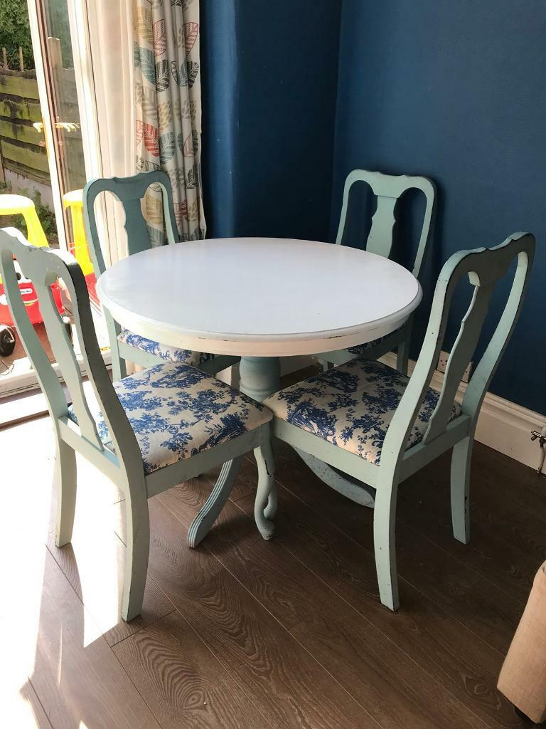 Shabby Chic Vintage Round Dining Table And 4 Chairs Laura Ashley Print Good Condition