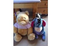 Large Winnie the Pooh and Eyore toys