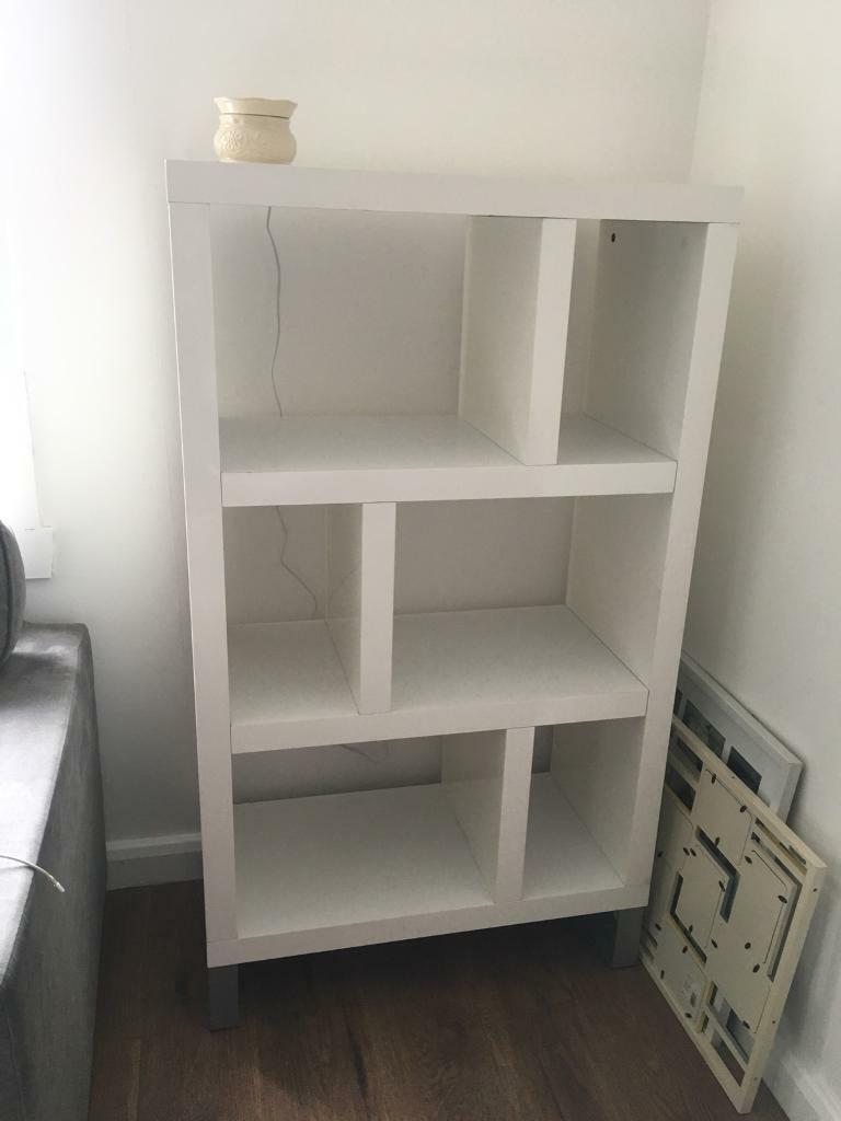 White Gloss Shelving Unit Living Room Bedroom Modern Shelves