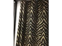 Black and Gold Blackout Curtains 90x90 inch plus 2 cushions and gold bed runner