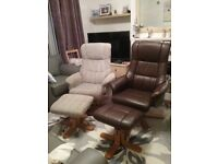 2 Recliner Armchairs and Footstools