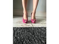 Pink suede Guess stilettos