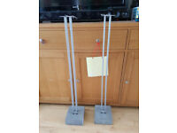 TWO SPEAKER STANDS WITH CONCRETE BASE - SILVER