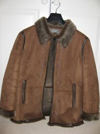 Brown coat with faux fur collar, cuffs and lining