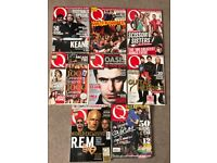 Collection of 8 Q magazine 2006-2012 oasis, u2, Coldplay R.E.M.