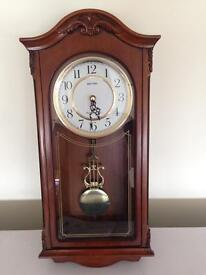 Deluxe wooden pendulum wall clock Westminster chime
