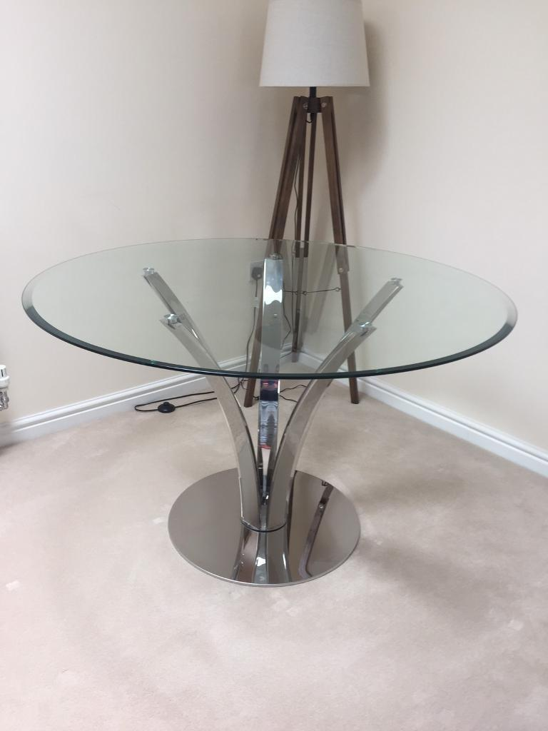 John Lewis Moritz Glass Top Round Dining Room Table Stainless Steel