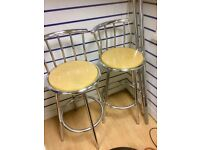 Two Bar Stools Chrome Legs Wood Seats In Good Condition