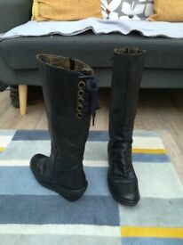 Ladies Fly Black Leather Boots
