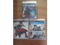 PS3 games all New and Sealed, Mass Effect 3, Ghost Recon Future Soldier and Syndicate