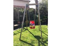 PLUM WOODEN SWING WITH ADDITIONAL BABYSEAT