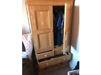 Small solid pine wardrobe with drawers
