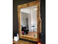 Solid rustic wood mirrors and shelf