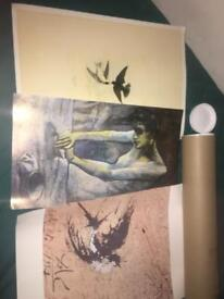 X3 art posters with roll and large oil painting tree 🌲 by lake