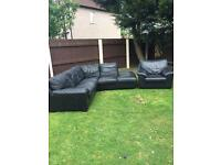 Black Leather corner sofa and armchair