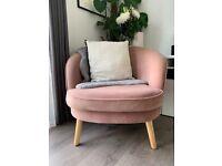 Made. com Gertie Accent Armchair in Vintage Pink Velvet