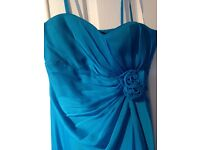 blue cocktail / wedding / bridesmaid / prom dress size 10 debenhams