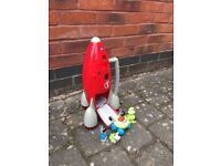 ELC space rocket with astronauts and alien