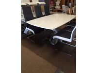 ex display dining table and six modern new chairs-original cost 1550,now 460