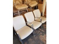 Lovely low Faux Leather ? office reception chairs in Cream