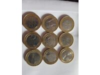 Selection of £2.00 £2 two pound coins with minting mint errors
