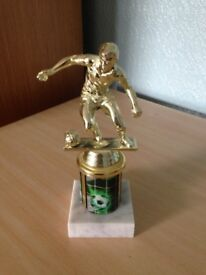 Gold/Green Football Trophy on Marble Base