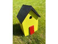 Bird Nesting Box House Handmade Yellow Black and Red