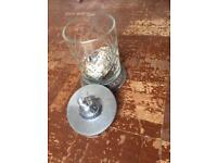 Antique glass and silver decorative jar