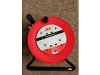 4 SOCKET 15 METRE EXTENSION CABLE REEL 13A, ONLY 4 MONTHS OLD AND USED TWICE!