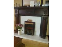 Mahogany fire place and marble inset