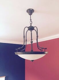 Ceiling pendant basket style uplighter Iron and Glass