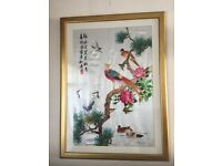 STUNNING CHINESE EMBROIDERED PICTURE - (EXCELLENT CONDITION) IN A GOLDEN FRAME