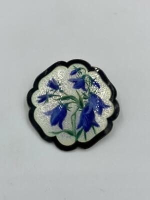 Clement Berg Norway Guilloche Enamel Brooch Bluebell Flower Antique Silver c1900