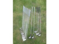 SELECTION OF WILSON X 11CLUBS, 2 X MIZUNO AND I PROSIMMON DRIVER GOLF CLUBS