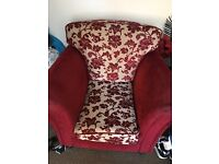 Georgeous deep red dasmak patterned sofa and chair.