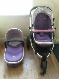 Loganberry purple icandy pram - mainseat, chassis and carrycot
