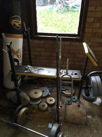 Weights, bench and bars.