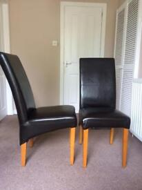 Faux Brown Leather Chairs