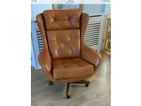 70's G Plan Tan Brown leatherette Egg chair - very Vintage Retro
