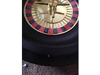 Texas hold 'em up poker set and giant casino mats and roulette wheel